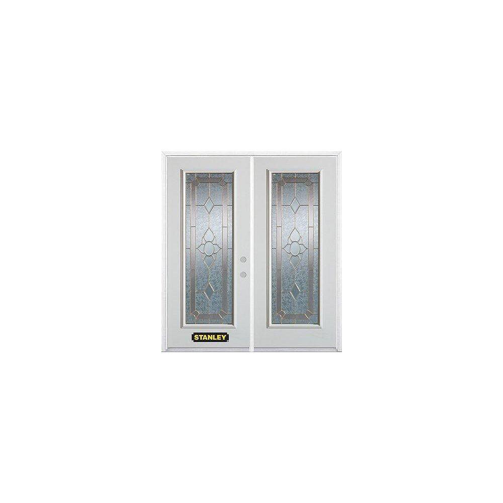 STANLEY Doors Porte dentrée double en acier préfini blanc, munie d'un panneau de verre, 66 po x 82 po avec astragale et moulure de brique