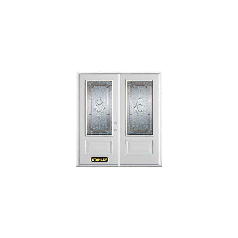 STANLEY Doors 71 inch x 82.375 inch Rochelle Brass 3/4 Lite 1-Panel Prefinished White Left-Hand Inswing Steel Prehung Double Door with Astragal and Brickmould