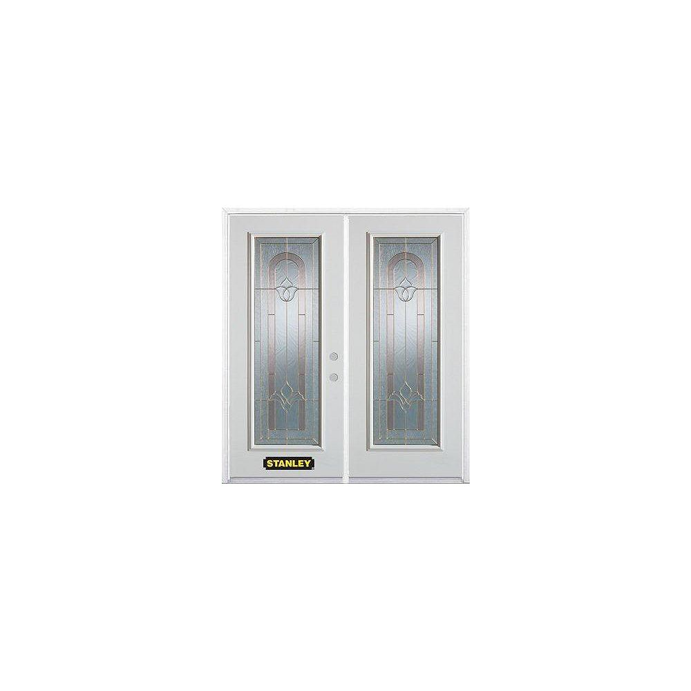 STANLEY Doors Porte dentrée double en acier préfini blanc, munie d'un panneau de verre, 74 po x 82 po avec astragale et moulure de brique