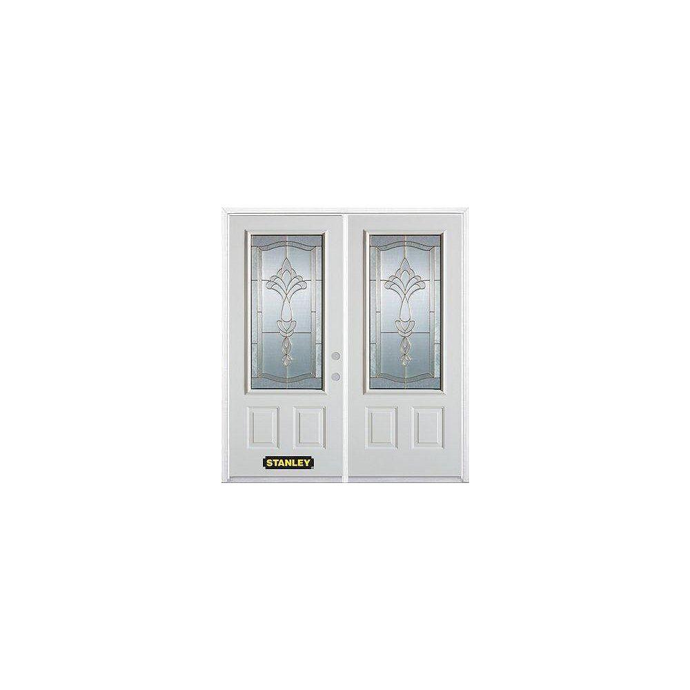 STANLEY Doors Porte dentrée double en acier préfini blanc, munie de deux panneaux et dun 3/4 verre, 70 po x 82 po avec astragale et moulure de brique - ENERGY STAR®