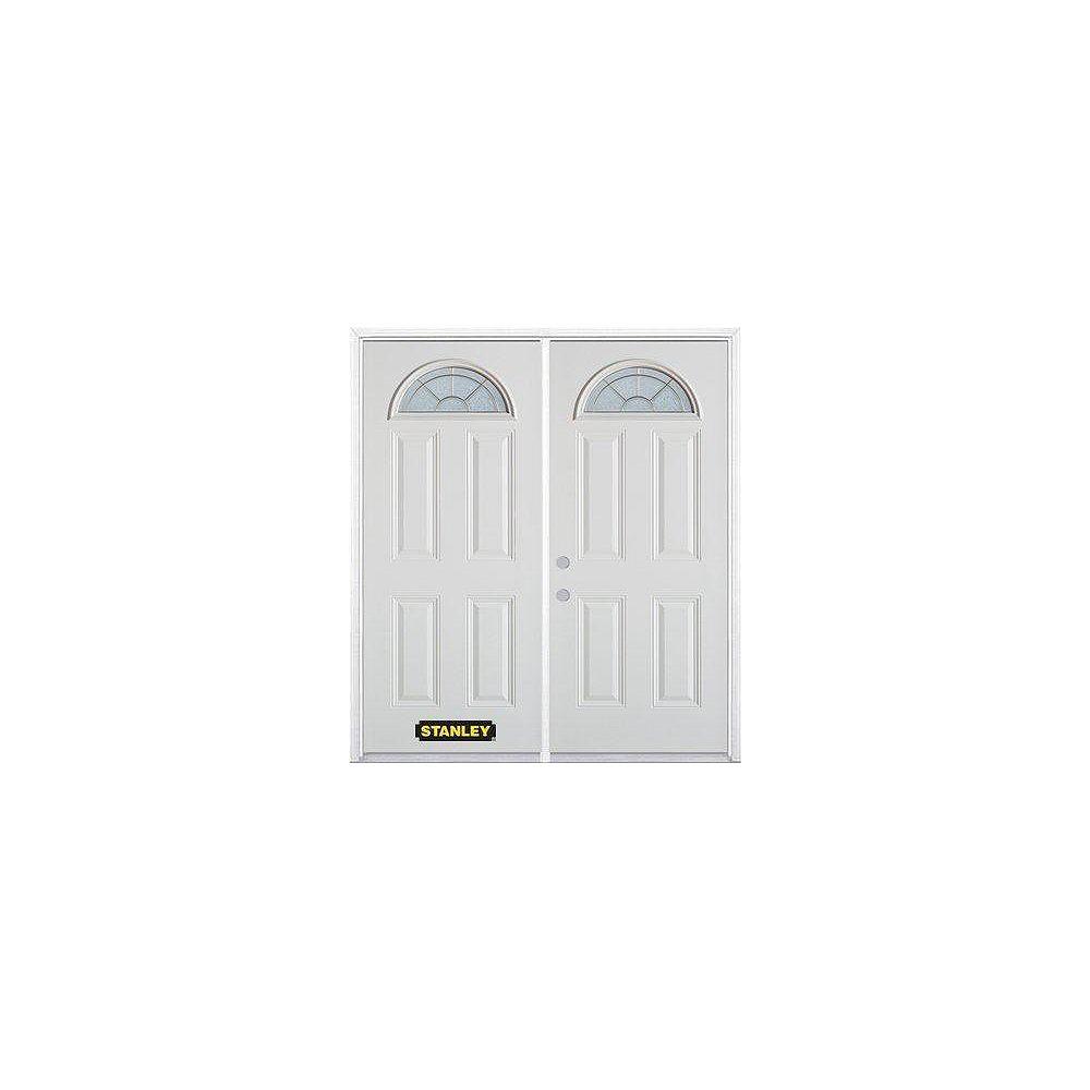 STANLEY Doors Porte dentrée double en acier préfini blanc, munie de quatre panneaux et dun verre en évantail, 74 po x 82 po avec astragale et moulure de brique