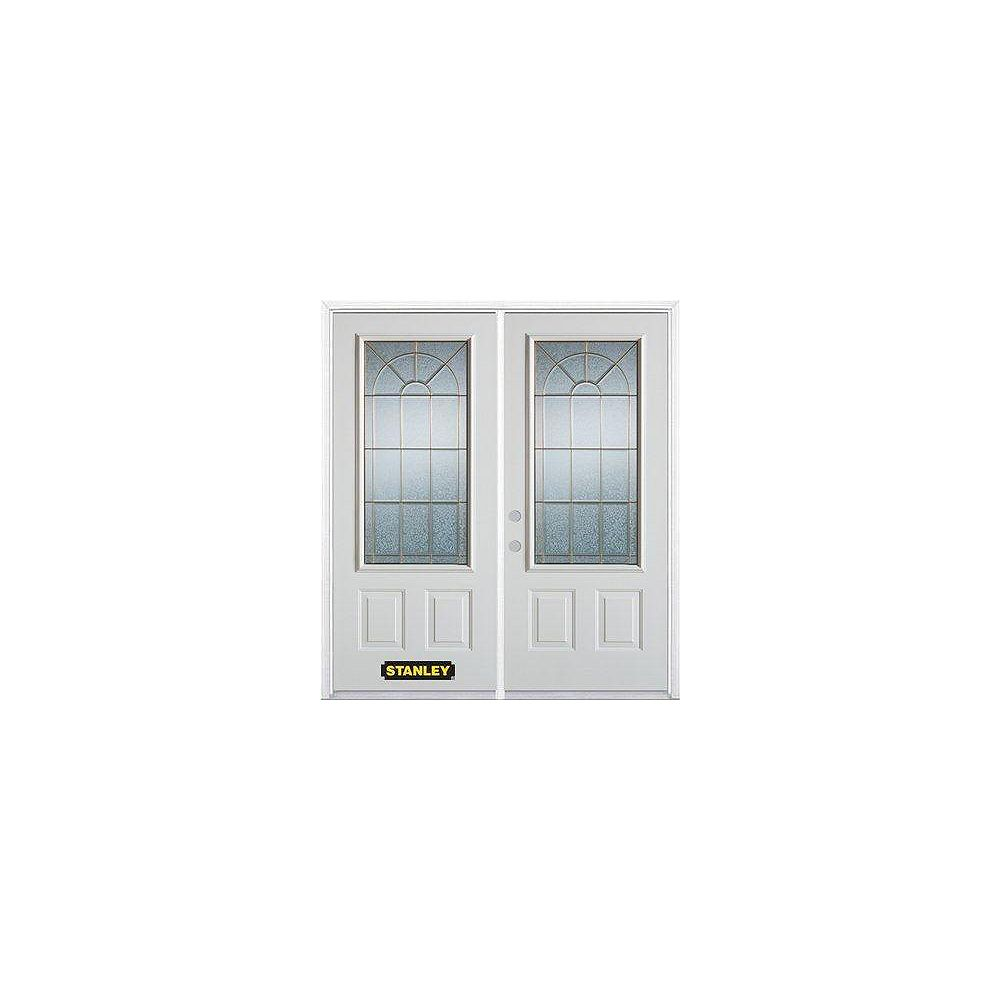 STANLEY Doors 71 inch x 82.375 inch Elisabeth Brass 3/4 Lite 2-Panel Prefinished White Right-Hand Inswing Steel Prehung Double Door with Astragal and Brickmould