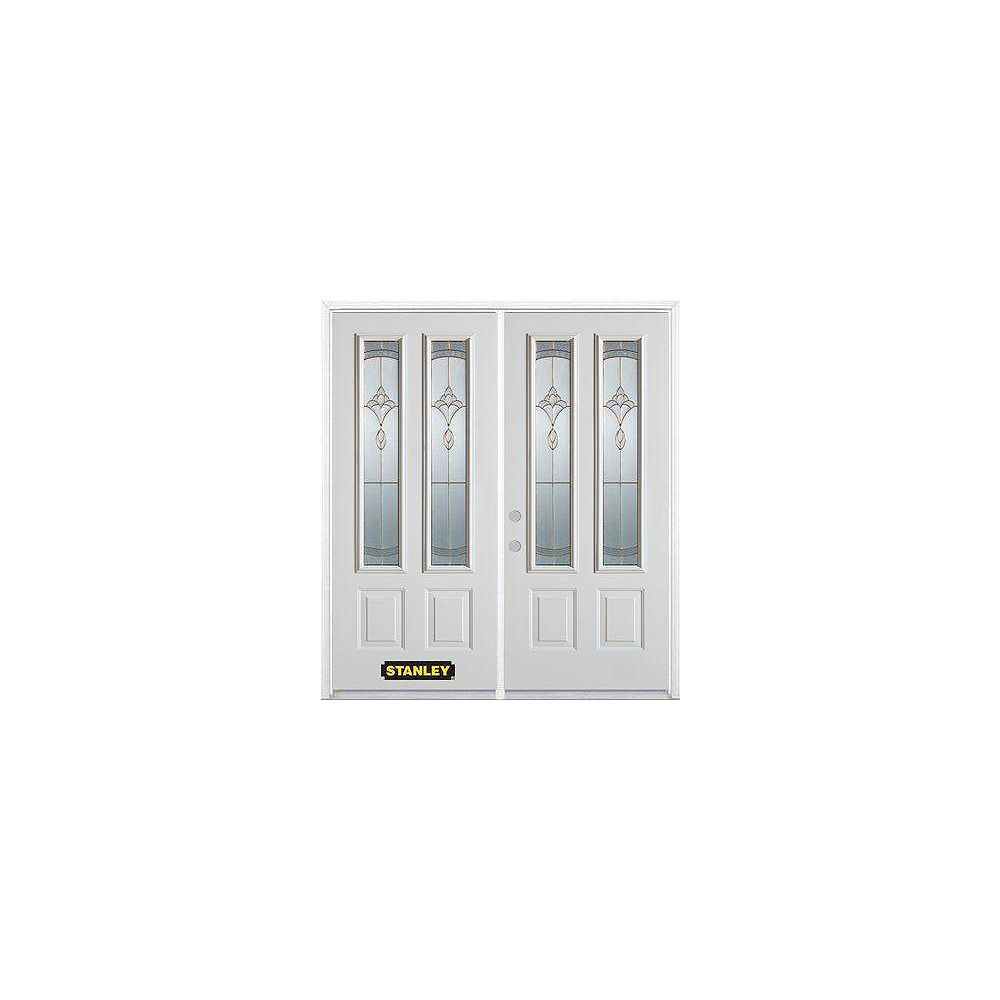 STANLEY Doors 67 inch x 82.375 inch Karina Brass 2-Lite 2-Panel Prefinished White Right-Hand Inswing Steel Prehung Double Door with Astragal and Brickmould