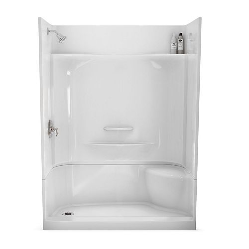 Essence 60-inch x 30-inch 4-Piece Shower Stall with Right Seat in White