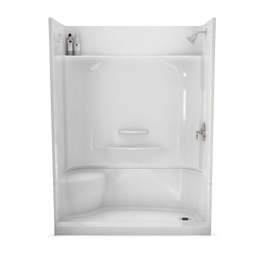 Essence 60-inch x 30-inch 4-Piece Shower Stall with Left Seat in White