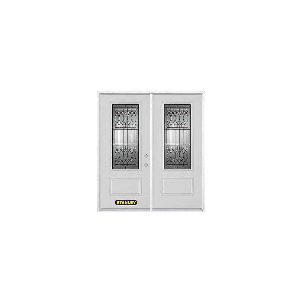 STANLEY Doors 71 inch x 82.375 inch Nightingale Patina 3/4 Lite 1-Panel Prefinished White Left-Hand Inswing Steel Prehung Double Door with Astragal and Brickmould