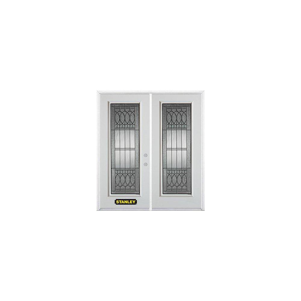 STANLEY Doors 67 inch x 82.375 inch Nightingale Patina Full Lite Prefinished White Left-Hand Inswing Steel Prehung Double Door with Astragal and Brickmould