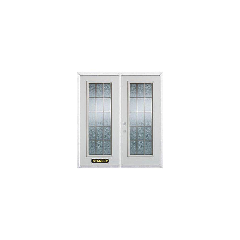STANLEY Doors Porte dentrée double en acier préfini blanc, munie d'un panneau de verre, 70 po x 82 po avec astragale et moulure de brique - ENERGY STAR®