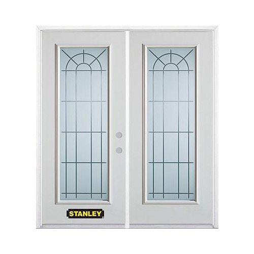 STANLEY Doors 75 inch x 82.375 inch Chablis Full Lite Prefinished White Left-Hand Inswing Steel Prehung Double Door with Astragal and Brickmould