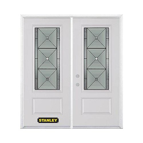 STANLEY Doors 75 inch x 82.375 inch Bellochio Patina 3/4 Lite 1-Panel Prefinished White Right-Hand Inswing Steel Prehung Double Door with Astragal and Brickmould