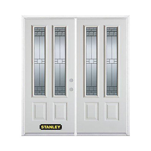 67 inch x 82.375 inch Seattle Zinc 2-Lite 2-Panel Prefinished White Left-Hand Inswing Steel Prehung Double Door with Astragal and Brickmould