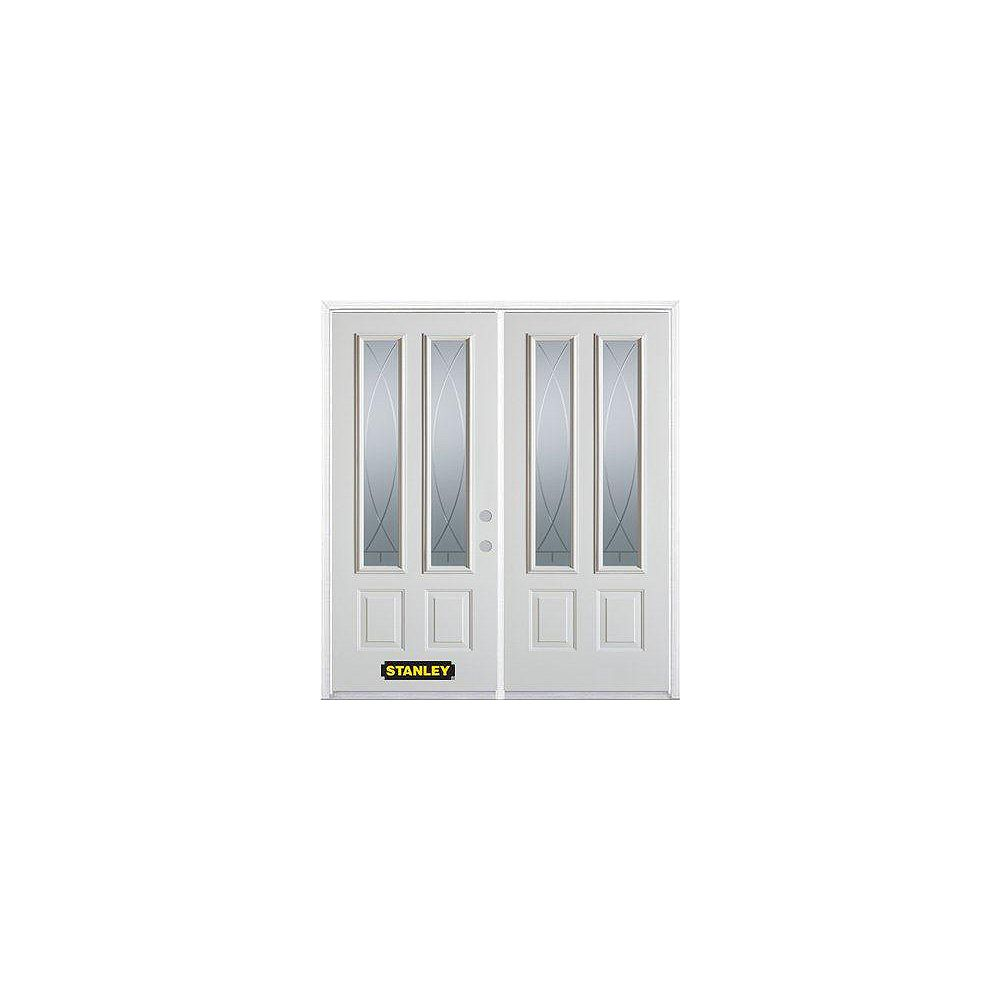 STANLEY Doors 75 inch x 82.375 inch Bourgogne 2-Lite 2-Panel Prefinished White Left-Hand Inswing Steel Prehung Double Door with Astragal and Brickmould