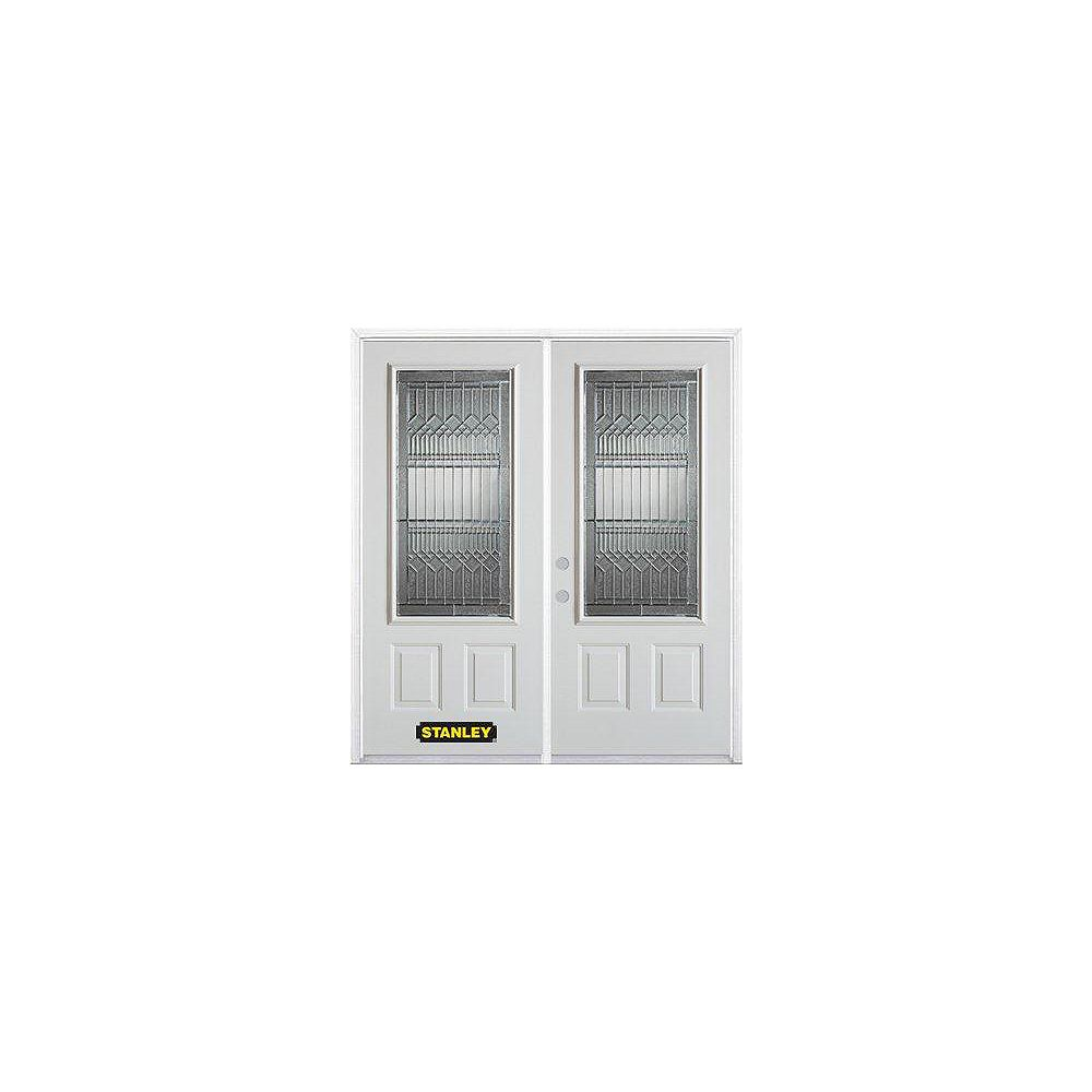 STANLEY Doors 75 inch x 82.375 inch Lanza Patina 3/4 Lite 1-Panel Prefinished White Right-Hand Inswing Steel Prehung Double Door with Astragal and Brickmould