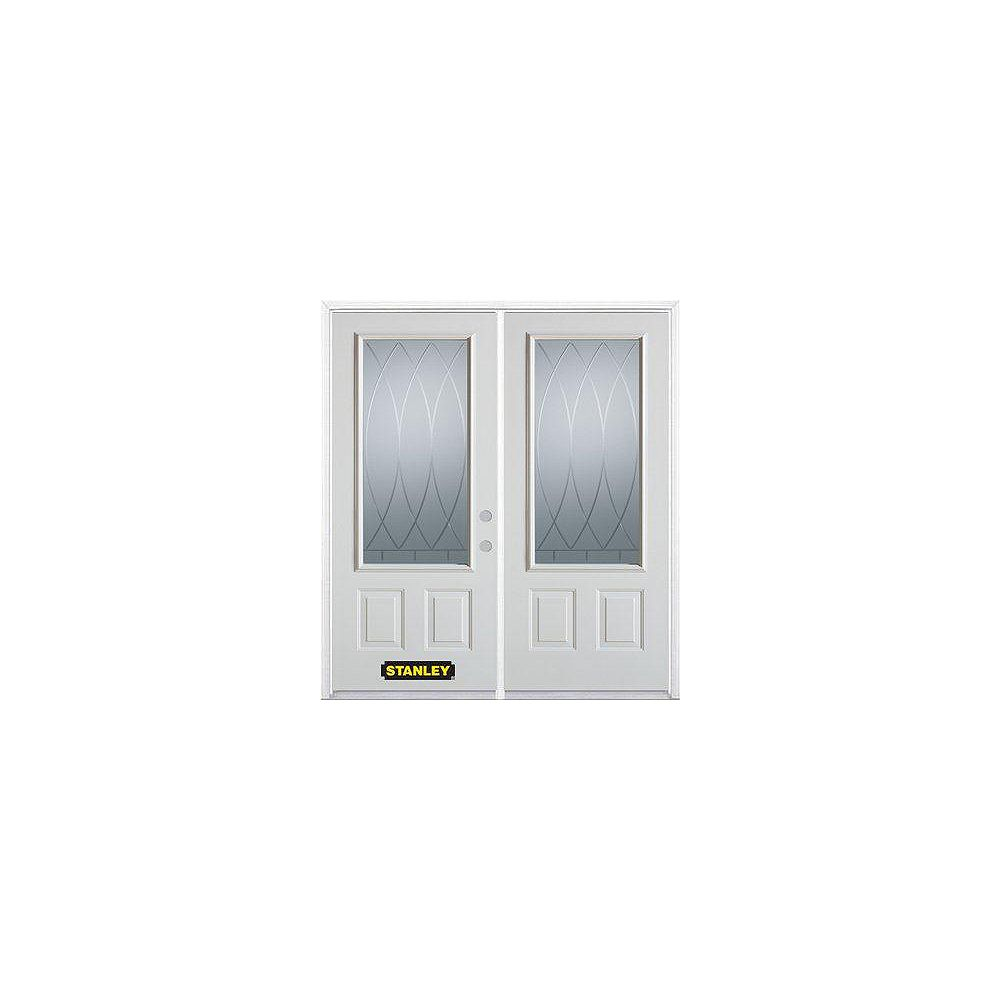 STANLEY Doors 75 inch x 82.375 inch Bourgogne 3/4 Lite 2-Panel Prefinished White Left-Hand Inswing Steel Prehung Double Door with Astragal and Brickmould