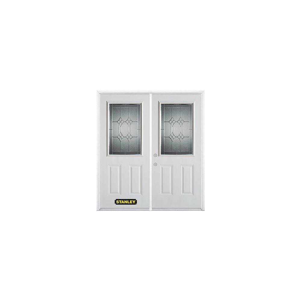STANLEY Doors 75 inch x 82.375 inch Orleans Patina Half Lite 2-Panel Prefinished White Right-Hand Inswing Steel Prehung Double Door with Astragal and Brickmould
