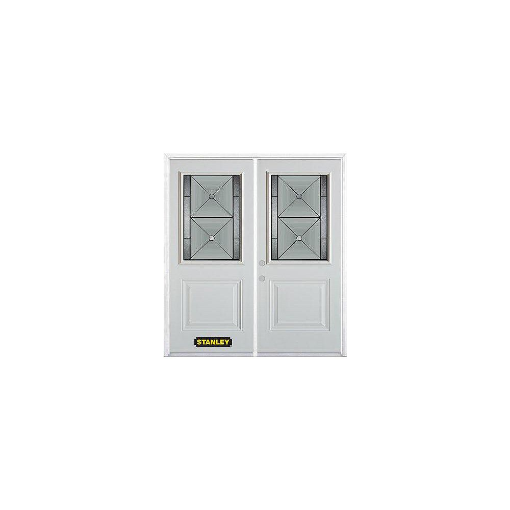 STANLEY Doors 75 inch x 82.375 inch Bellochio Patina 1/2 Lite 1-Panel Prefinished White Right-Hand Inswing Steel Prehung Double Door with Astragal and Brickmould