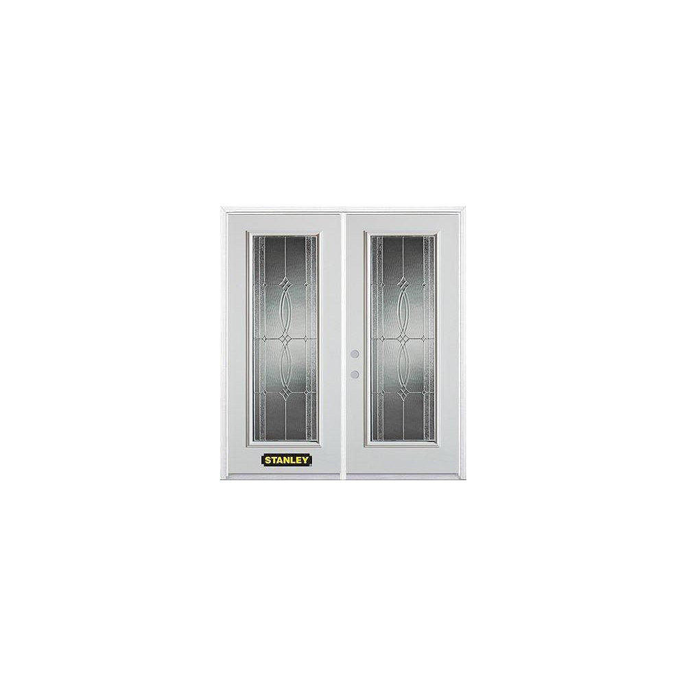 STANLEY Doors 71 inch x 82.375 inch Diamanti Zinc Full Lite Prefinished White Right-Hand Inswing Steel Prehung Double Door with Astragal and Brickmould