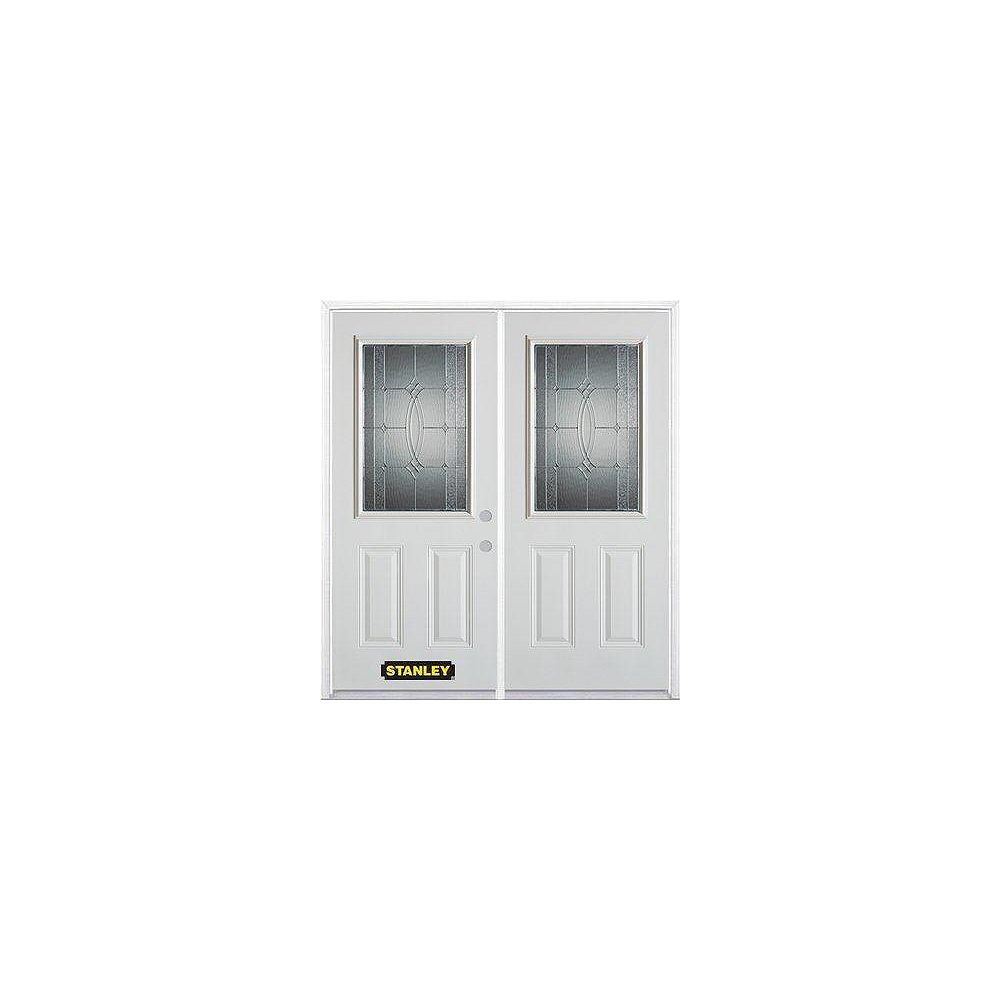 STANLEY Doors 67 inch x 82.375 inch Diamanti Zinc Half Lite 2-Panel Prefinished White Left-Hand Inswing Steel Prehung Double Door with Astragal and Brickmould
