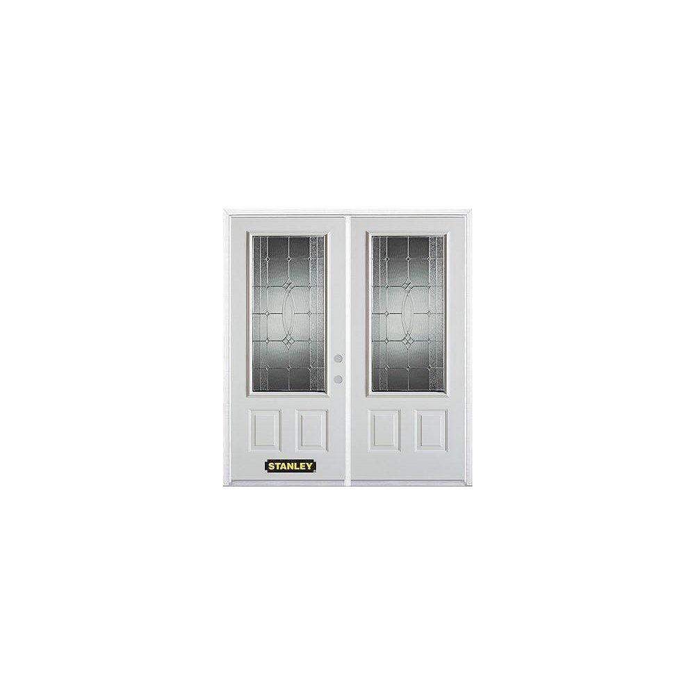 STANLEY Doors 67 inch x 82.375 inch Diamanti Zinc 3/4 Lite 2-Panel Prefinished White Left-Hand Inswing Steel Prehung Double Door with Astragal and Brickmould