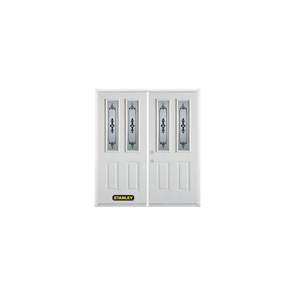 STANLEY Doors 67 inch x 82.375 inch Renoir 2-Lite 2-Panel Prefinished White Right-Hand Inswing Steel Prehung Double Door with Astragal and Brickmould