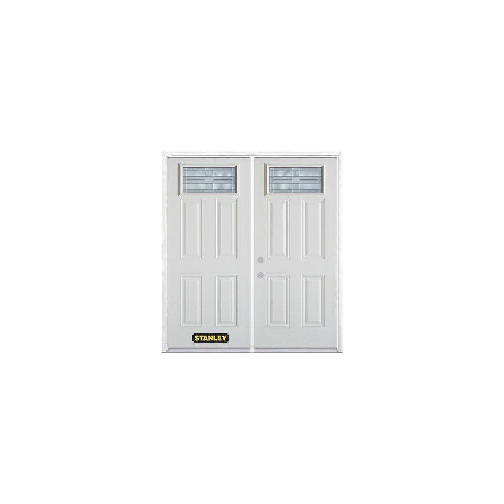 STANLEY Doors Porte dentrée double en acier préfini blanc, munie de quatre panneaux et dun verre rectangulaire , 74 po x 82 po avec astragale et moulure de brique