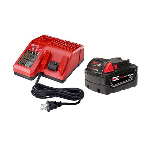 Milwaukee Tool M18 18V XC 3.0 Ah Lithium-Ion Battery with MultiVage Charger Starter Kit