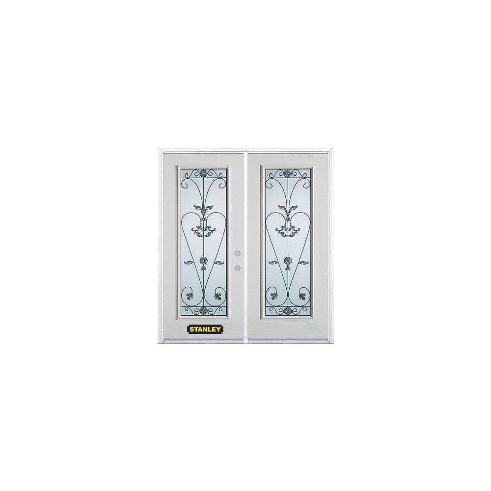 STANLEY Doors 67 inch x 82.375 inch Blacksmith Full Lite Prefinished White Left-Hand Inswing Steel Prehung Double Door with Astragal and Brickmould