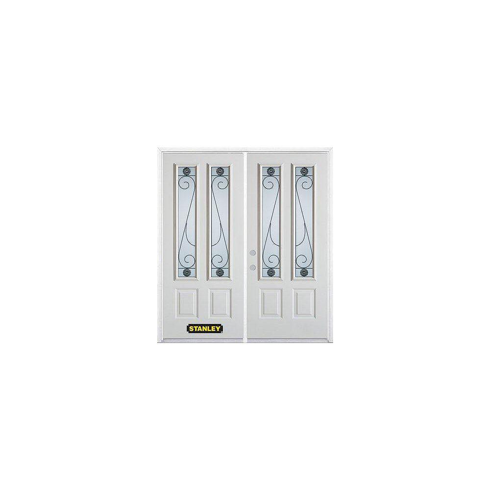 STANLEY Doors Porte dentrée double en acier préfini blanc, munie de deux panneaux et de deux verre, 70 po x 82 po avec astragale et moulure de brique