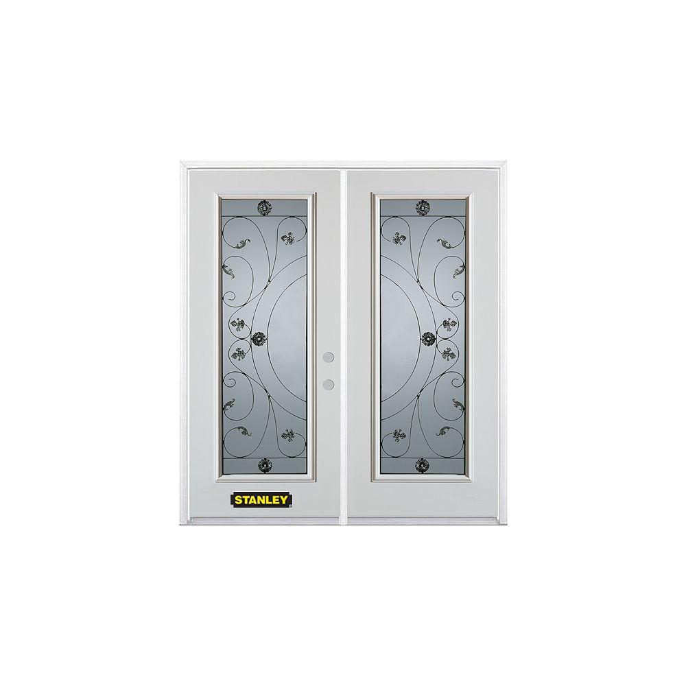 STANLEY Doors Porte dentrée double en acier préfini blanc, munie d'un panneau de verre, 70 po x 82 po avec astragale et moulure de brique
