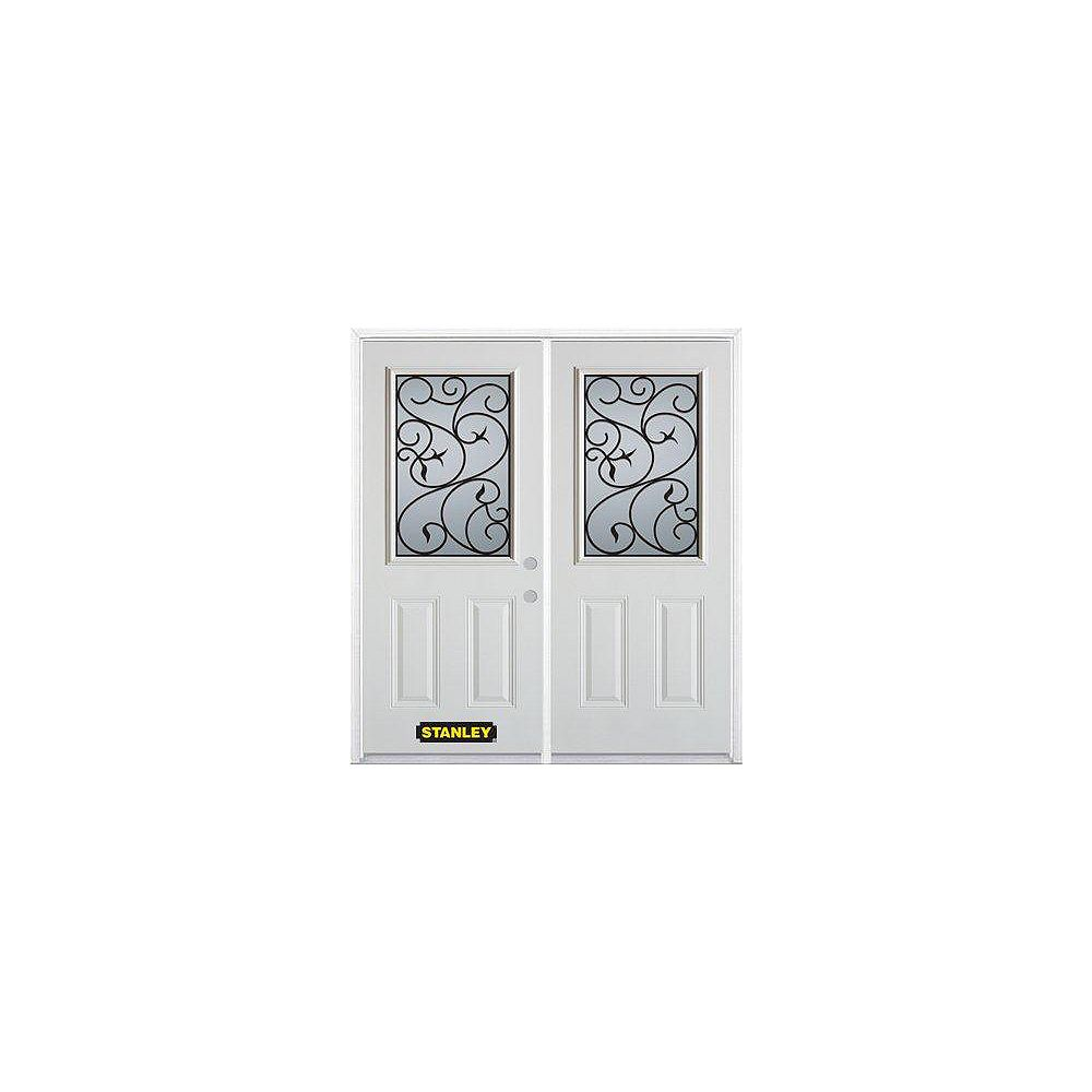 STANLEY Doors 71 inch x 82.375 inch Borduas Half Lite 2-Panel Prefinished White Left-Hand Inswing Steel Prehung Double Door with Astragal and Brickmould