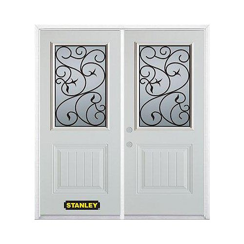 STANLEY Doors 67 inch x 82.375 inch Borduas 1/2 Lite 1-Panel Prefinished White Right-Hand Inswing Steel Prehung Double Door with Astragal and Brickmould