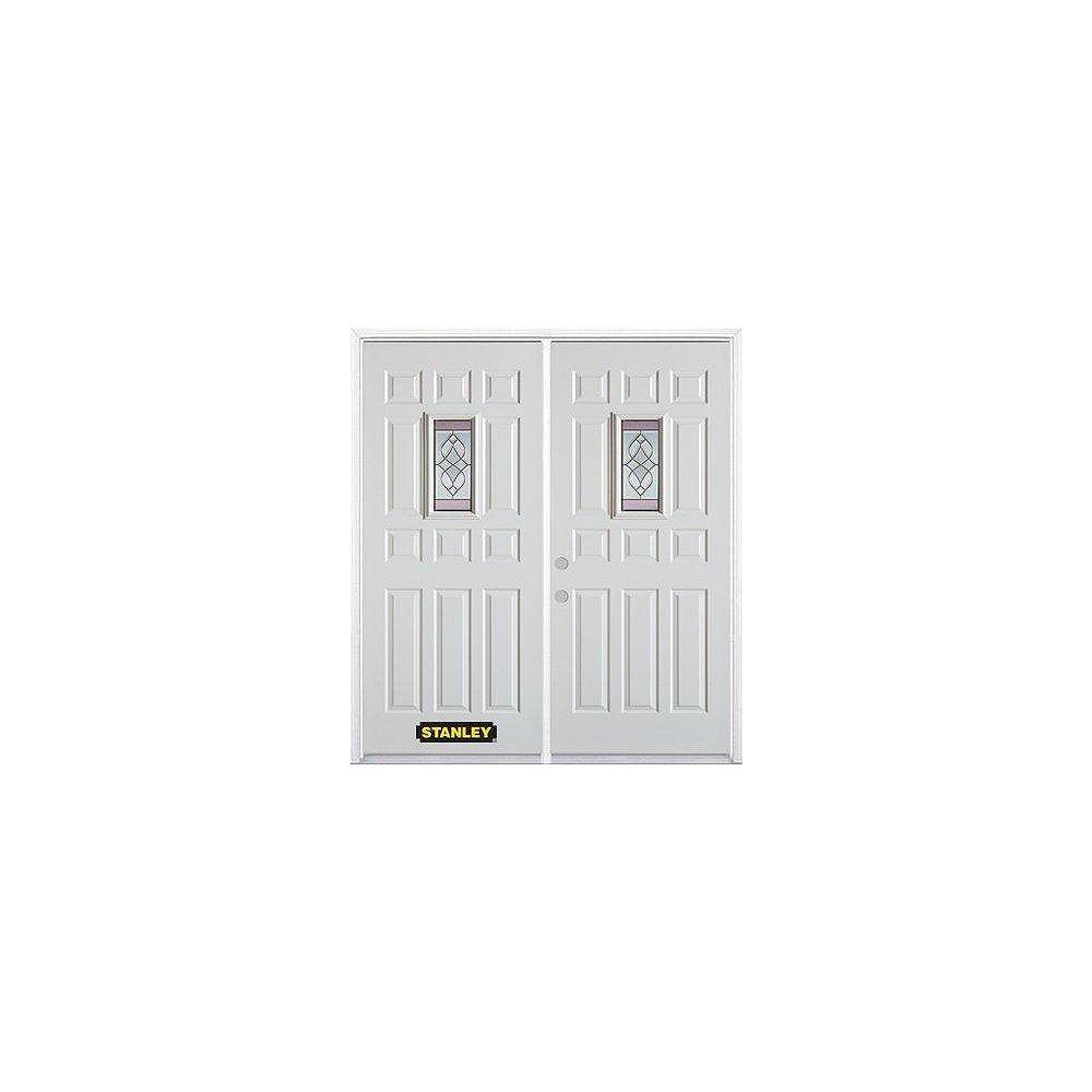 STANLEY Doors Porte dentrée double en acier préfini blanc, munie d'onze panneaux et dun verre rectangulaire de 9 po x 19 po, 74 po x 82 po avec astragale et moulure de brique