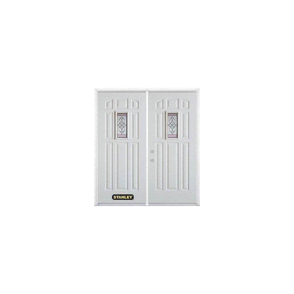 STANLEY Doors Porte dentrée double en acier préfini blanc, munie de huit panneaux et dun verre rectangulaire de 9 po x 19 po, 74 po x 82 po avec astragale et moulure de brique