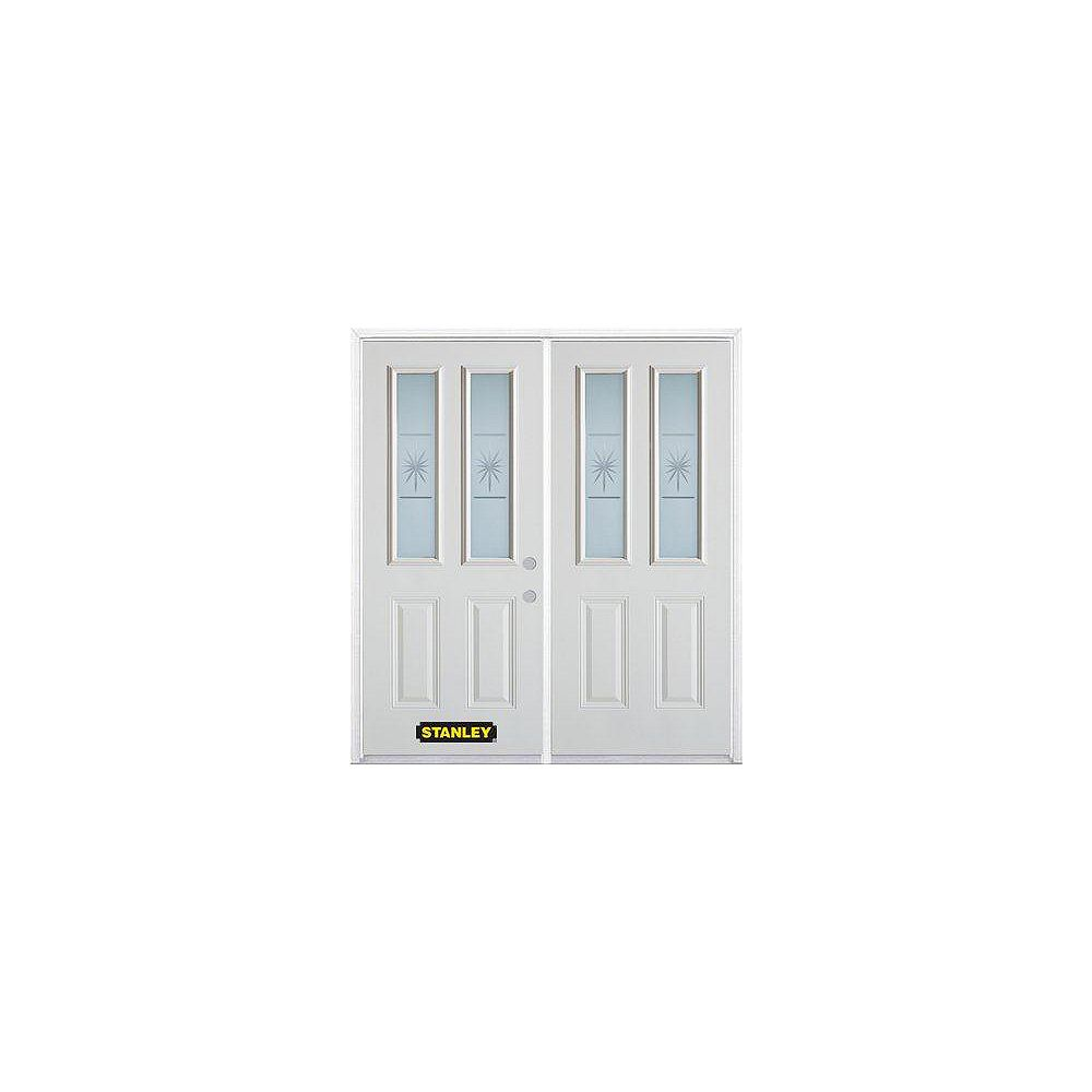 STANLEY Doors 67 inch x 82.375 inch Beaujolais 2-Lite 2-Panel Prefinished White Left-Hand Inswing Steel Prehung Double Door with Astragal and Brickmould