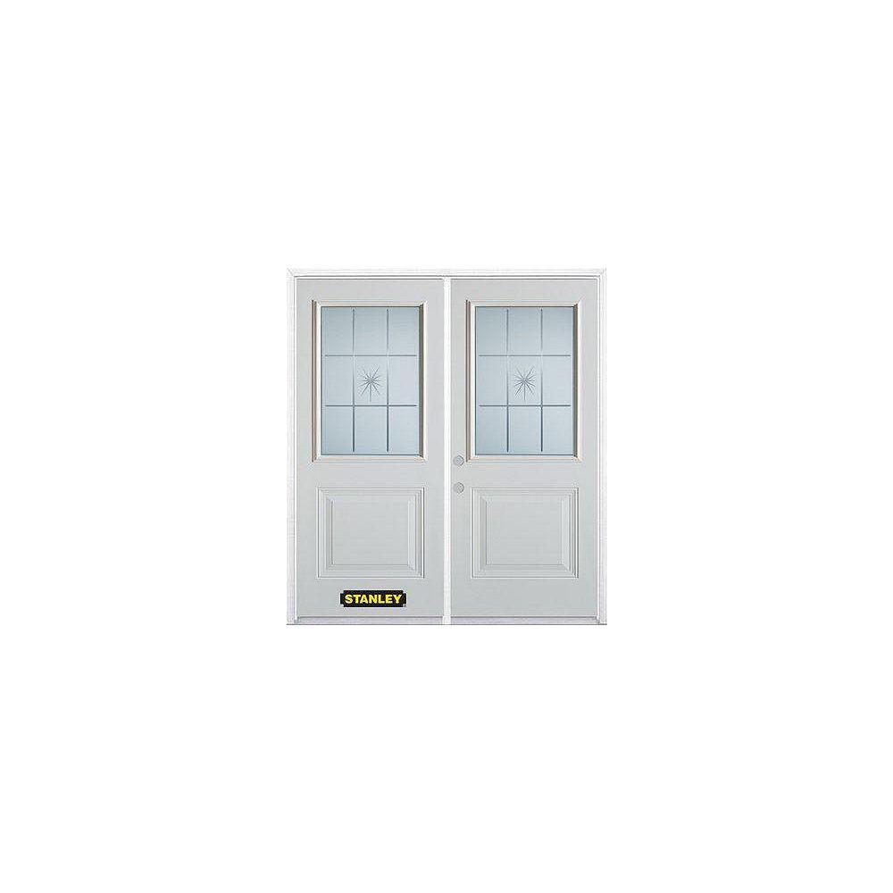 STANLEY Doors Porte dentrée double en acier préfini blanc, munie d'un panneau et dun 1/2 verre, 70 po x 82 po avec astragale et moulure de brique