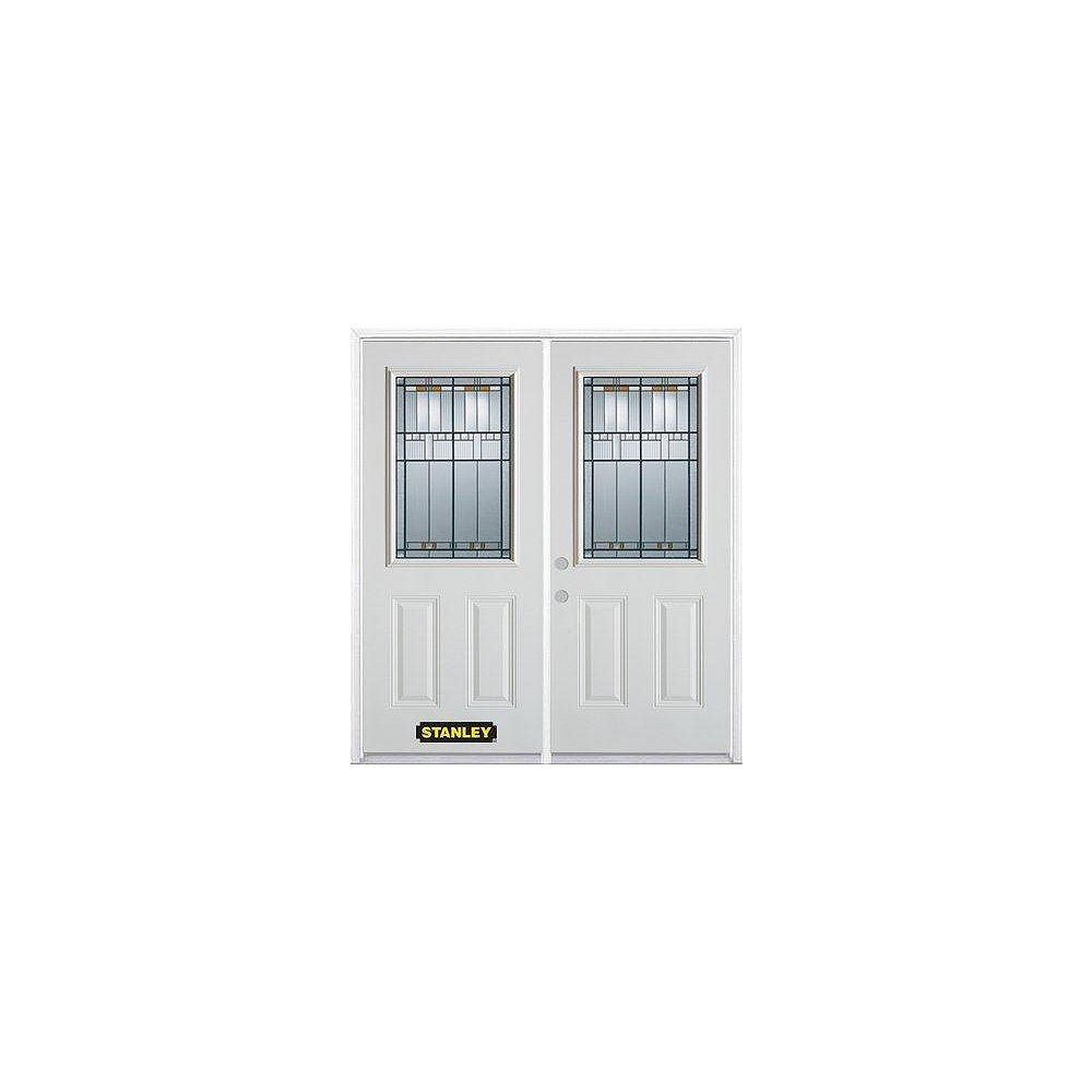 STANLEY Doors 67 inch x 82.375 inch Chicago Patina Half Lite 2-Panel Prefinished White Right-Hand Inswing Steel Prehung Double Door with Astragal and Brickmould