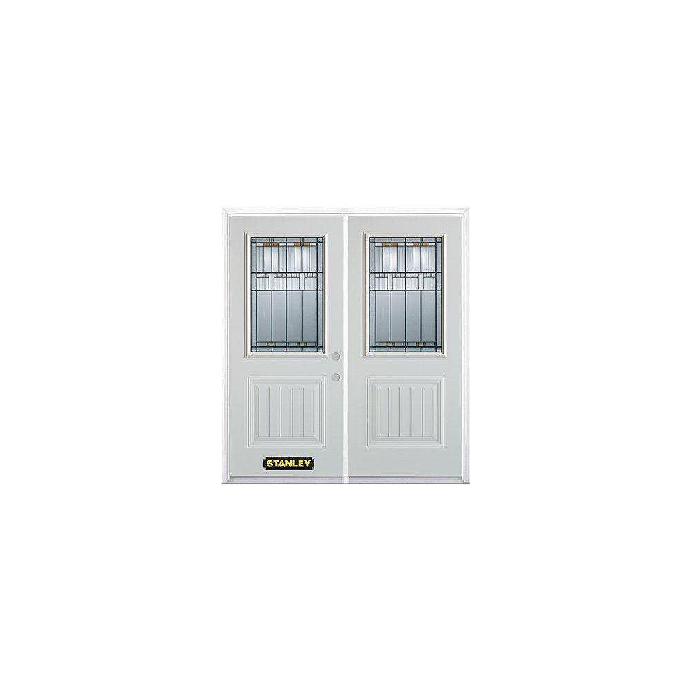 STANLEY Doors 67 inch x 82.375 inch Chicago Patina 1/2 Lite 1-Panel Prefinished White Left-Hand Inswing Steel Prehung Double Door with Astragal and Brickmould
