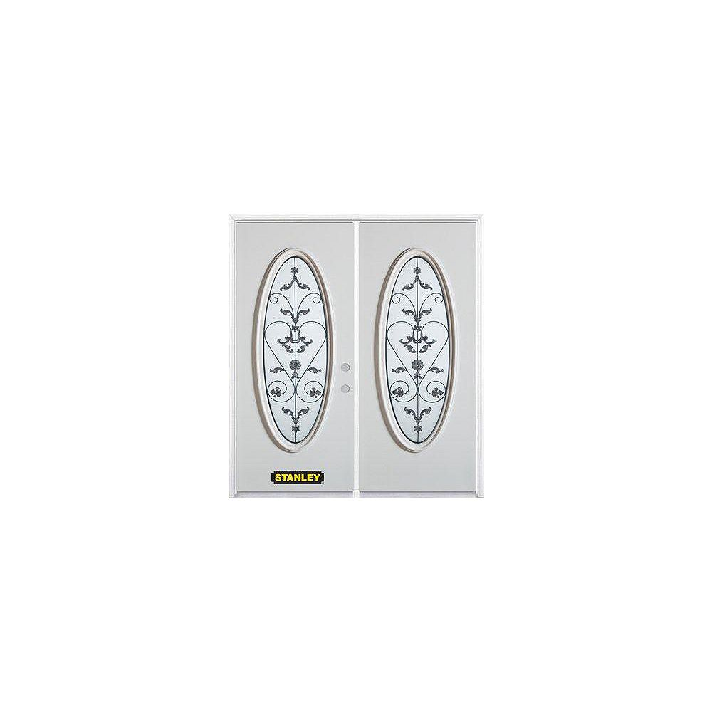 STANLEY Doors 71 inch x 82.375 inch Blacksmith Full Oval Lite Prefinished White Left-Hand Inswing Steel Prehung Double Door with Astragal and Brickmould