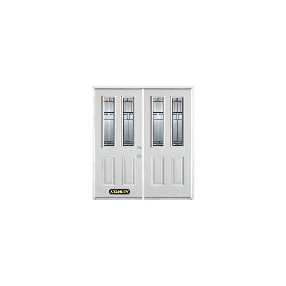 STANLEY Doors 71 inch x 82.375 inch Chicago Patina 2-Lite 2-Panel Prefinished White Left-Hand Inswing Steel Prehung Double Door with Astragal and Brickmould