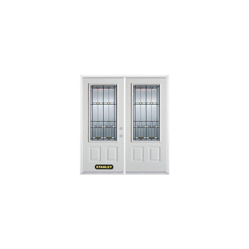 STANLEY Doors 71 inch x 82.375 inch Chicago Patina 3/4 Lite 2-Panel Prefinished White Left-Hand Inswing Steel Prehung Double Door with Astragal and Brickmould