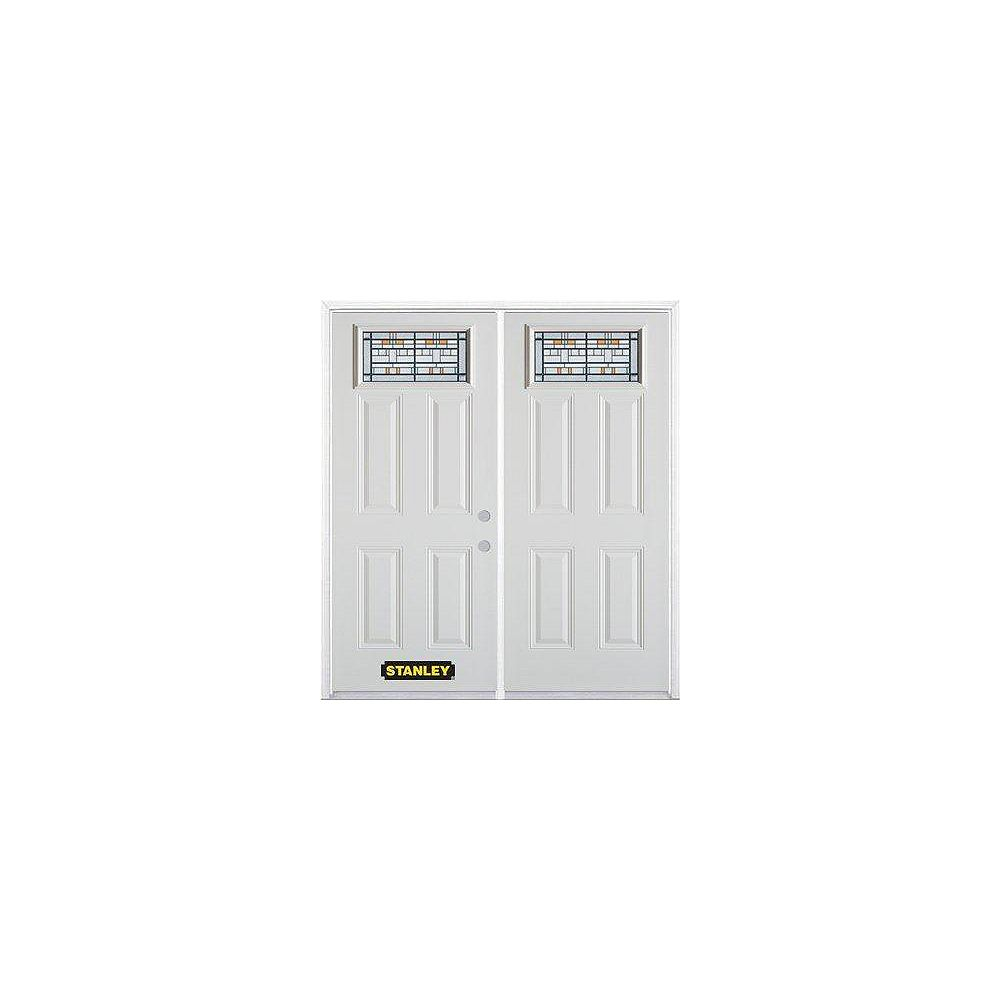 STANLEY Doors 75 inch x 82.375 inch Chicago Patina Rectangular Lite 4-Panel Prefinished White Left-Hand Inswing Steel Prehung Double Door with Astragal and Brickmould