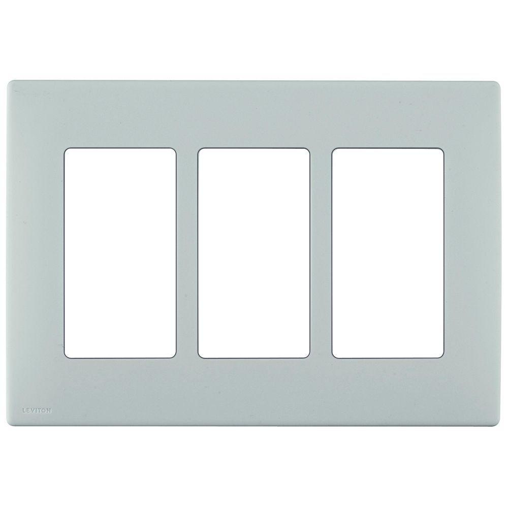 Leviton Renu 3-Gang Screwless Wallplate in Sea Spray