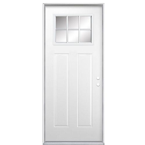 34-inch x 80-inch x 4-9/16-inch Craftsman 6-Lite Low-E Right Hand Door