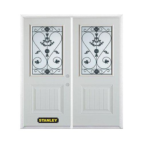 STANLEY Doors 67 inch x 82.375 inch Blacksmith 1/2 Lite 1-Panel Prefinished White Left-Hand Inswing Steel Prehung Double Door with Astragal and Brickmould