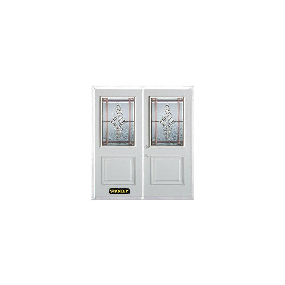 STANLEY Doors 67 inch x 82.375 inch Milano Brass 1/2 Lite 1-Panel Prefinished White Right-Hand Inswing Steel Prehung Double Door with Astragal and Brickmould
