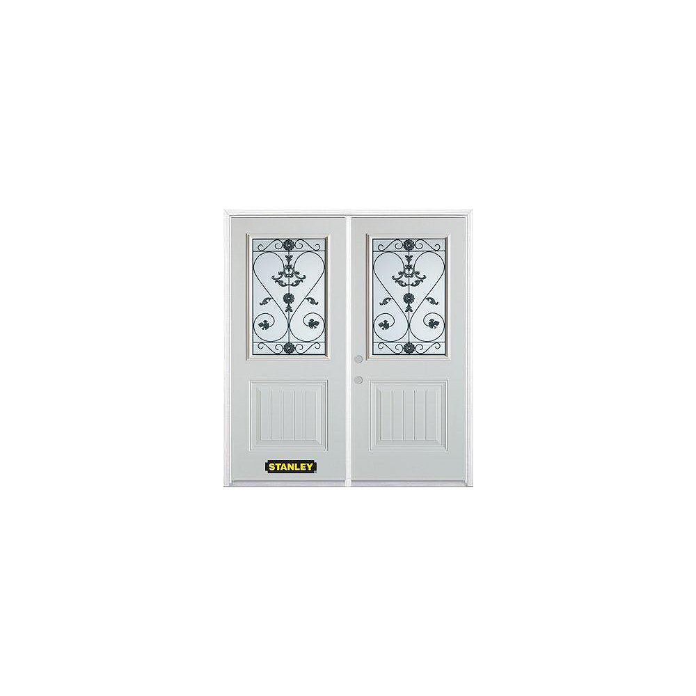 STANLEY Doors 75 inch x 82.375 inch Blacksmith 1/2 Lite 1-Panel Prefinished White Right-Hand Inswing Steel Prehung Double Door with Astragal and Brickmould