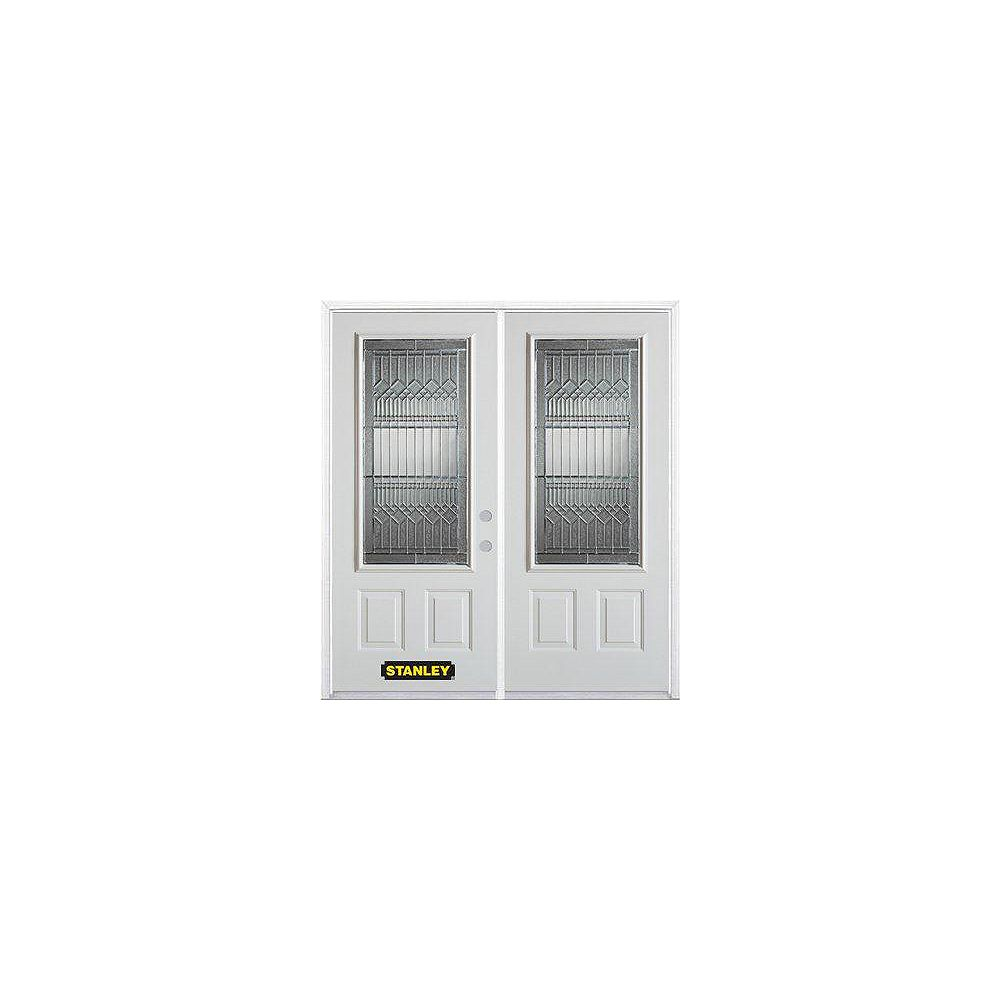 STANLEY Doors 75 inch x 82.375 inch Lanza Patina 3/4 Lite 1-Panel Prefinished White Left-Hand Inswing Steel Prehung Double Door with Astragal and Brickmould