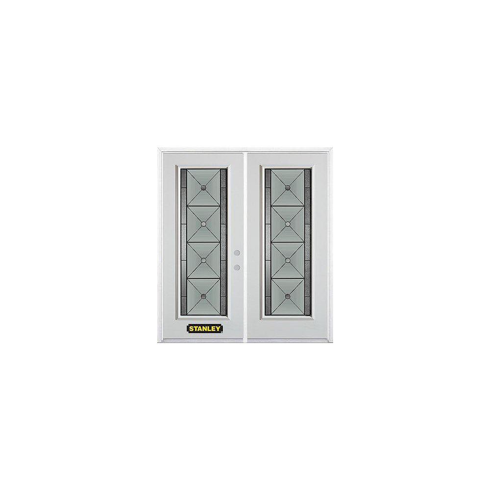 STANLEY Doors 67 inch x 82.375 inch Bellochio Patina Full Lite Prefinished White Left-Hand Inswing Steel Prehung Double Door with Astragal and Brickmould