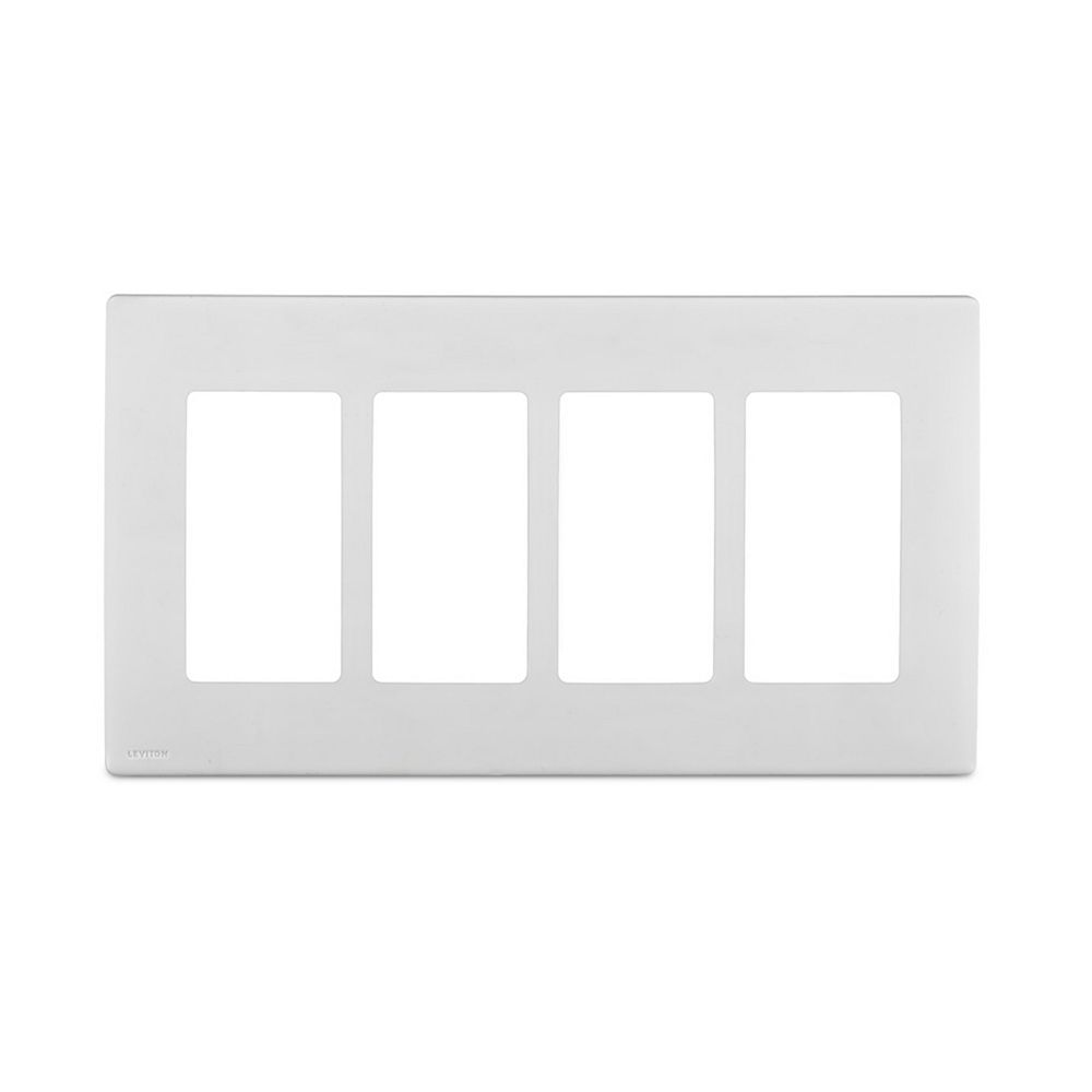 Leviton Renu 4-Gang Screwless Wallplate in White