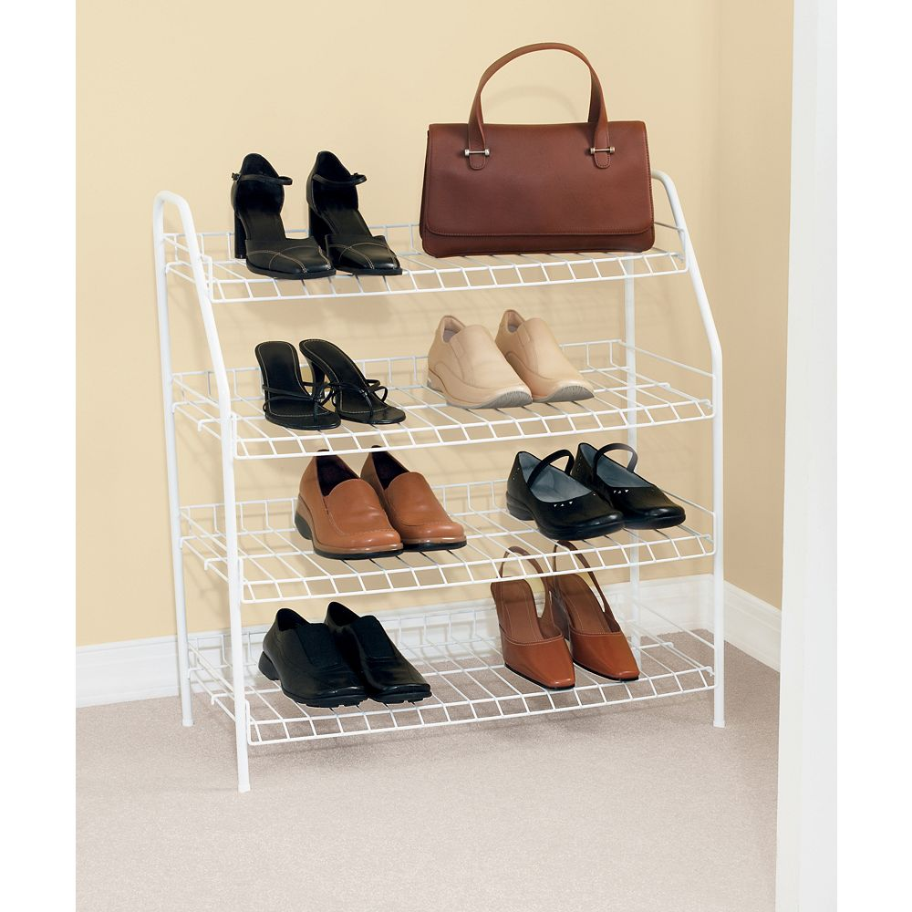 Rubbermaid 27.9-inch H x 25.75-inch W x 11.6-inch D Shoe Shelf with 4 Tiers